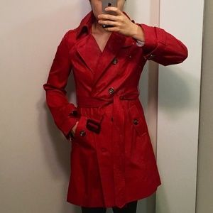 London Fog Red Trench with Detachable Hood, Petite